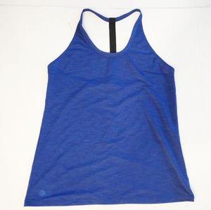 ATHLETA Blue T-Back Uppercut Mesh Running Tank Top